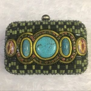 Mary Frances Green Beaded Clutch Turquoise Purse